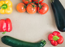 Vegetable set: ripe tomatoes, paprika, zuccini and an aggplant o Stock Photos