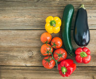 Vegetable set: ripe tomatoes, paprika, zuccini and an aggplant o Royalty Free Stock Photography