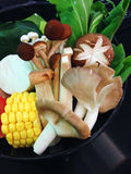 Vegetable set for shabu, mushroom, sweet corn Royalty Free Stock Image