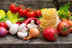 Vegetable set on a wooden background. Close-up Stock Images