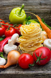 Vegetable set on a wooden background. Close-up Stock Photos