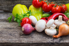 Vegetable set on a wooden background. Close-up Royalty Free Stock Photo