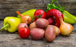 Vegetable set on a wooden background. Close-up Royalty Free Stock Image