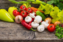 Vegetable set on a wooden background. Close-up Stock Image