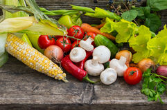 Vegetable set on a wooden background. Close-up Royalty Free Stock Images