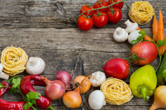 Vegetable set on a wooden background. Top view. Close-up Stock Photography