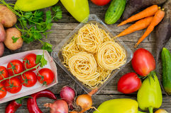 Vegetable set on a wooden background. Top view. Close-up Stock Image