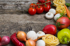 Vegetable set on a wooden background. Top view. Close-up. Vegetable set on a wooden background. Top view, produce, vegetarian, paprika Royalty Free Stock Photo
