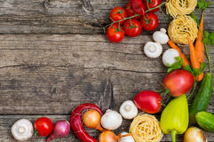 Vegetable set on a wooden background. Top view. Close-up. Vegetable set on a wooden background. Top view, produce, vegetarian, paprika Stock Photo