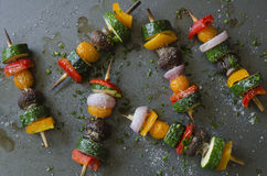 Vegetable shish Kebab. Grilled Vegetable shish Kebab with peppers, mushrooms, tomatoes, zucchini and onions as texture or background Stock Photography