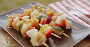 Vegetable shish kebap on plate close up. Close up of various vegetables and chicken with wooden kabob sticks next to rosemary sprig sitting on square plate stock footage