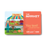 Vegetable shop. Sale discount gift card. Stock Image