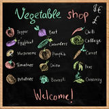Vegetable shop signboard with chalk drawings. Hand-drawn vegetable shop signboard with chalk drawings royalty free stock photo