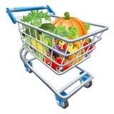 Vegetable Shopping Cart Trolley. An illustration of a shopping cart trolley full of healthy fresh vegetables Stock Photos