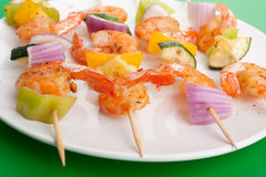 Vegetable and Shrimp Grilled Kebabs Royalty Free Stock Photos