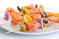 Vegetable and shrimp kebabs Stock Photos