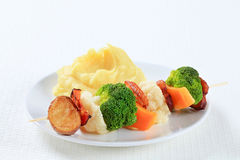 Vegetable skewer with mashed potato Royalty Free Stock Image
