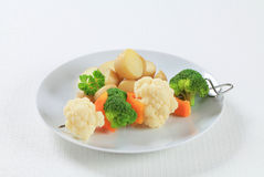Vegetable skewer and potatoes Stock Photo