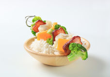 Vegetable skewer with rice Stock Photos