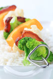 Vegetable skewer and white rice Royalty Free Stock Image