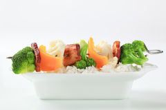 Vegetable skewer and white rice royalty free stock photos