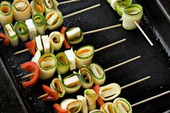 Vegetable skewers Stock Photo