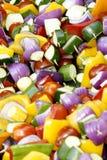 Vegetable Skewers. Pile of vegetable skewers ready to be grilled Royalty Free Stock Image