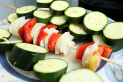 Vegetable skewers Stock Image