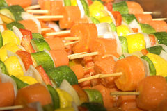 Vegetable Skewers. With carrots, peppers and marrows royalty free stock photography