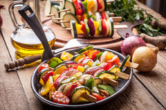 Vegetable skewers. Royalty Free Stock Image