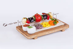 Vegetable skewers with eggplant, tomatoes, peppers Stock Images
