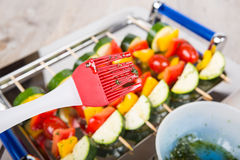 Vegetable skewers with tomato, pepper and zucchini Stock Image