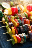 Vegetable skewers. Vegetarian grilled skewers with organic peppers, zucchini, tomatoes, eggplant and onions in herbal marinade Stock Photography