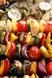 Vegetable skewers. Vegetarian grilled skewers with organic peppers, zucchini, tomatoes, eggplant and onions in herbal marinade Stock Image