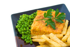 Vegetable Slice with Peas and Chips Royalty Free Stock Images