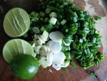 Vegetable. Slide onion and green lemon, ingrediant Thaifood Stock Image