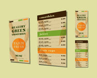 Vegetable smoothie menu vector concept. Fresh Stock Images