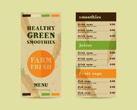 Vegetable smoothie menu vector concept. Fresh Royalty Free Stock Image