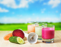 Vegetable smoothie on wooden table on the rural ba Stock Image