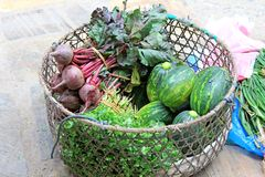 Vegetable sold on the street in Nepali markets. Stock Photo