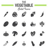 Vegetable solid icon set, food symbols collection Royalty Free Stock Photos