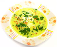 Vegetable soup. Vegetable yellow soup with carrots Royalty Free Stock Images