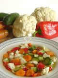 """Vegetable soup. Vegetable """"minestrone"""" soup with fresh veggies in the background Royalty Free Stock Image"""