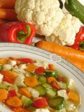 """Vegetable soup. Vegetable """"minestrone"""" soup with fresh veggies in the background Royalty Free Stock Photos"""