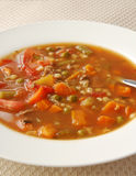Vegetable soup. A close up photo of vegetable beef soup Stock Photography