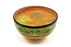 Vegetable soup. Bowl of vegetable soup on white background Stock Image