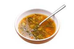 Vegetable soup. On white background Royalty Free Stock Image
