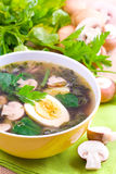 Vegetable soup. With spinach and champignons Royalty Free Stock Photo