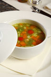 Vegetable soup. Served in a cup at restaurant Royalty Free Stock Images