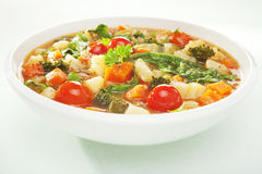 Vegetable Soup. A colourful vegetable soup in a wite bowl Royalty Free Stock Images